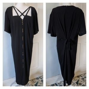 90s Strappy Neckline Detail Black Dress Women's 26